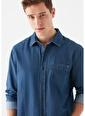 Mavi Tek Cepli  Gömlek İndigo